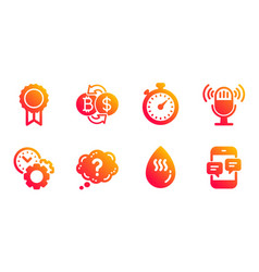 microphone reward and time management icons set vector image