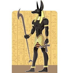 Mighty Great dark Anubis on Egypt background vector