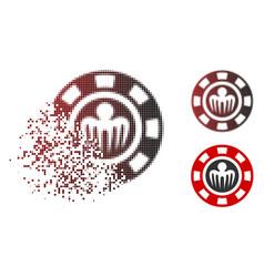 Moving pixel halftone spectre casino chip icon vector