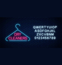 neon dry cleaners glowing sign with hanger with vector image