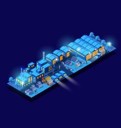 Night smart city 3d future neon ultraviolet vector