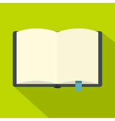 Open book with bookmark icon flat style vector image
