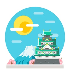 Osaka castle flat design landmark vector