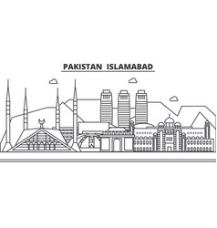 Pakistan islamabad architecture line skyline vector