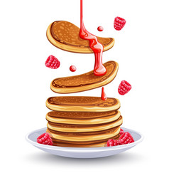 pancakes with raspberries vector image