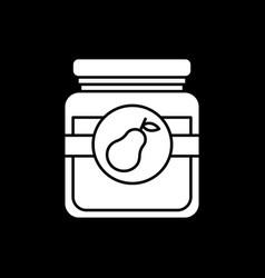 pear jam in glass jar dark mode glyph icon vector image