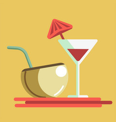 Refreshing summer cocktails in martini glass and vector