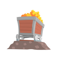 Retro wooden wagon with gold ore mining industry vector
