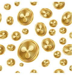 Ripple seamless pattern gold coins vector