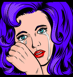 Sad girl crying pop art style vector