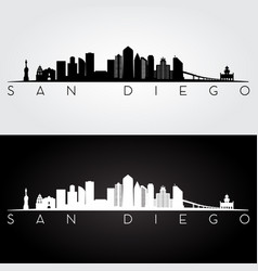 san diego usa skyline and landmarks silhouette vector image