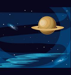 Saturn planet scene space vector
