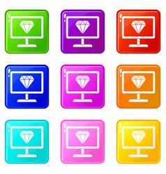 Screen with diamond icons 9 set vector