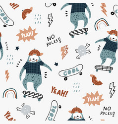 Seamless childish pattern with funny sloths vector