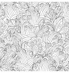 Seamless Monochrome Floral Pattern Hand vector
