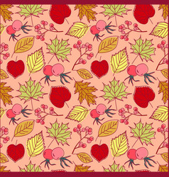 seamless retro autumn leaf background pattern in vector image