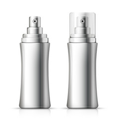 set - 3d realistic metallic spray bottles vector image