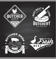 Set butcher shop badge or label with goose vector