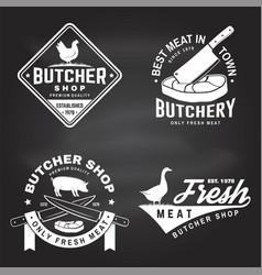set butcher shop badge or label with goose vector image