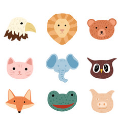 Set face character animals on white background vector
