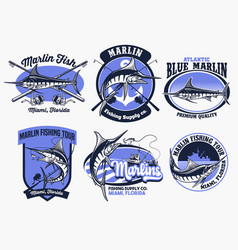set marlin fishing badge vector image