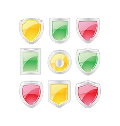 Set of 3 dimensional shields vector