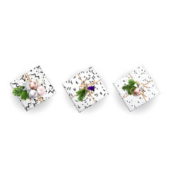 Set of christmas gift boxes realistic vector