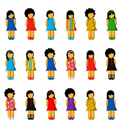 Set of girl icons with colorful dresses vector image