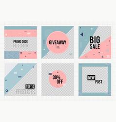 Set of trendy geometric elements memphis cards vector