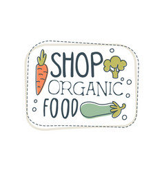 Shop organic food logo template label for healthy vector