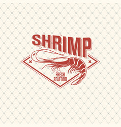 Shrimp logo on seamless pattern with fishing net vector