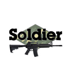 soldier black text gun background image vector image