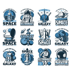 space planet astronaut and rocket isolated icons vector image