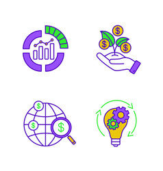 startup color icons set vector image