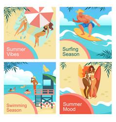 Summer mood vibes surfing swimming season set vector
