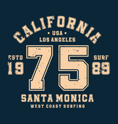 surfing california t-shirt design badge for vector image