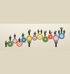 teamwork business people in motion workforce vector image
