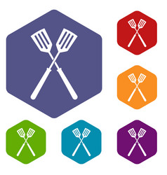 Two metal spatulas icons set hexagon vector