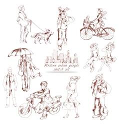 Urban people sketch vector image