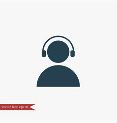 User with headphones icon simple vector