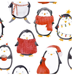 Watercolor christmas bapenguin pattern vector
