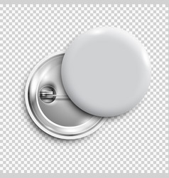 white 3d blank badgeround buttonpin button vector image