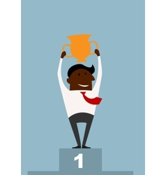 Winner black businessman raising a trophy vector image