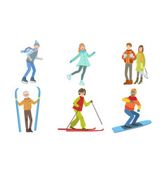 winter sport activities set different people vector image