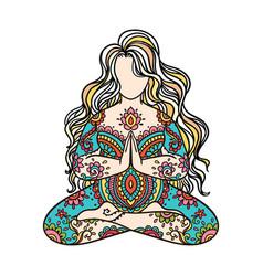 Yoga girl ornament meditation pose concept of vector