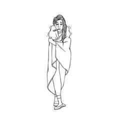 young woman with cold and flu symptoms stands vector image