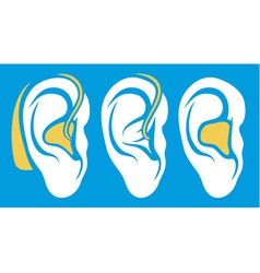ear hearing aid deaf problem icons collection vector image vector image