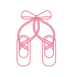 pair pointe ballet shoes slippers icon vector image