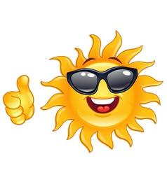 Thumb up sun vector