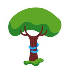 tree hug children nature help concept vector image
